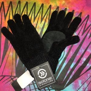 NWT Isotoner Black Chenille Insulated Knit Gloves